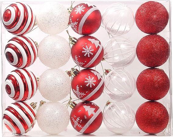 Valery Madelyn 20 Piezas Bolas de Navidad de 6cm, Adornos Navideños para Arbol, Decoración de Bolas de Navidad Inastillable Plástico de Rojo y Blanco, Regalos de Colgantes de Navidad (Tradicional): Amazon.es: Hogar