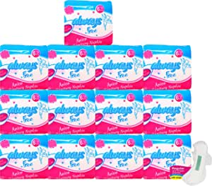 Always Free Alwaysfree Anion Ultra Thin Sanitary Pad/Napkins with Wings – Anti-Bacterial & Biodegradable- (L or Regular-240mm)- 6 Sanitary Pads Per Pack(78 Count)