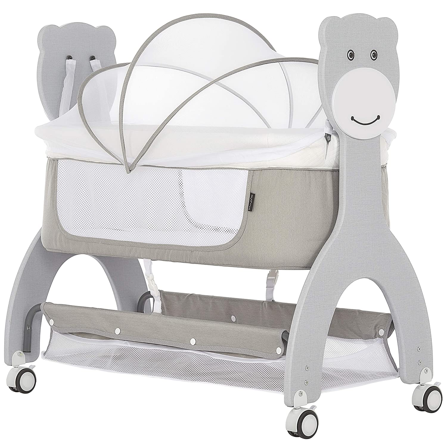 Dream On Me Cub Portable Bassinet   Rocking Cradle   Best for Small Living Space   Compact Portable Bassinet, Grey