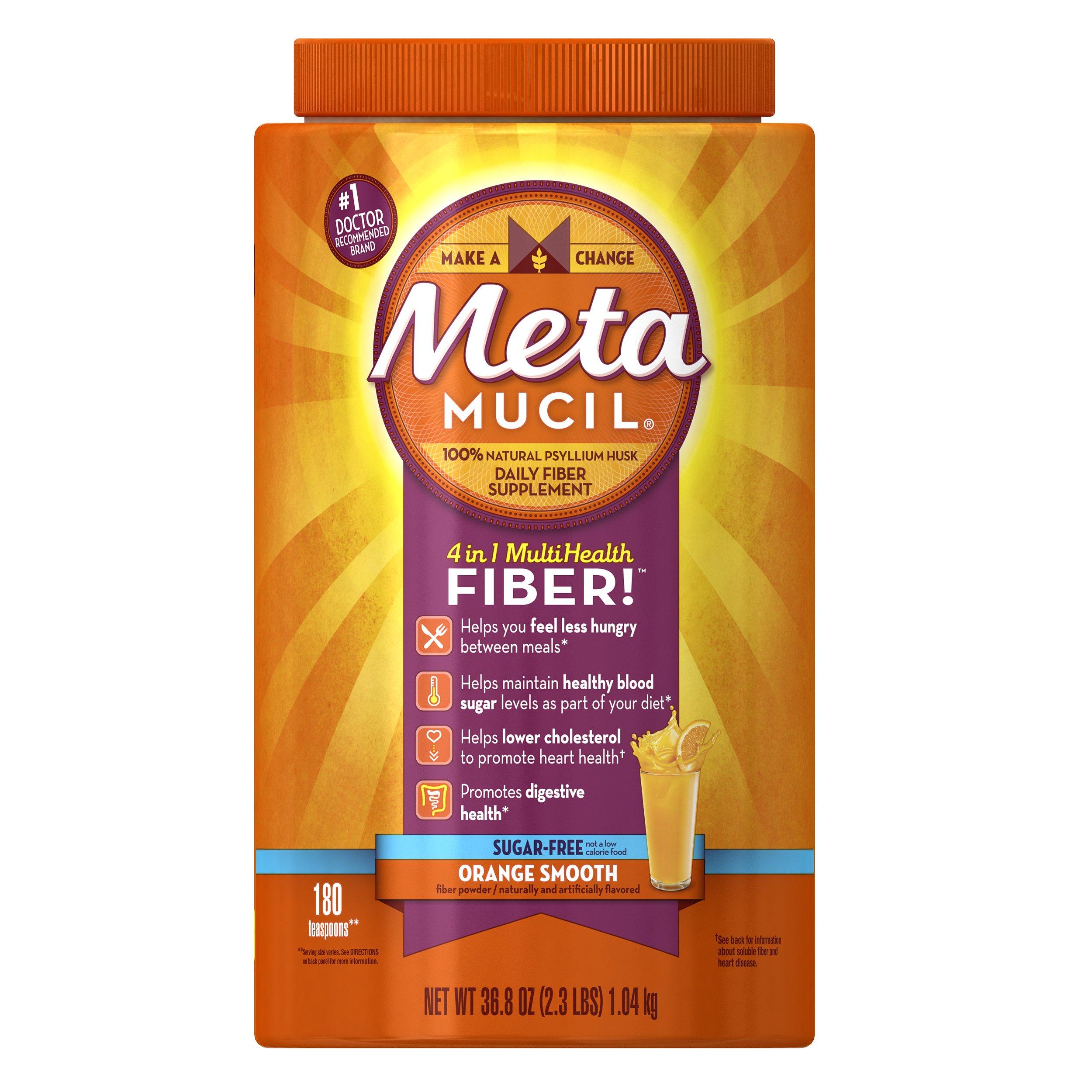 Metamucil Daily Fiber Supplement, Orange Smooth Sugar Free Psyllium Husk Fiber Powder, 180 Doses