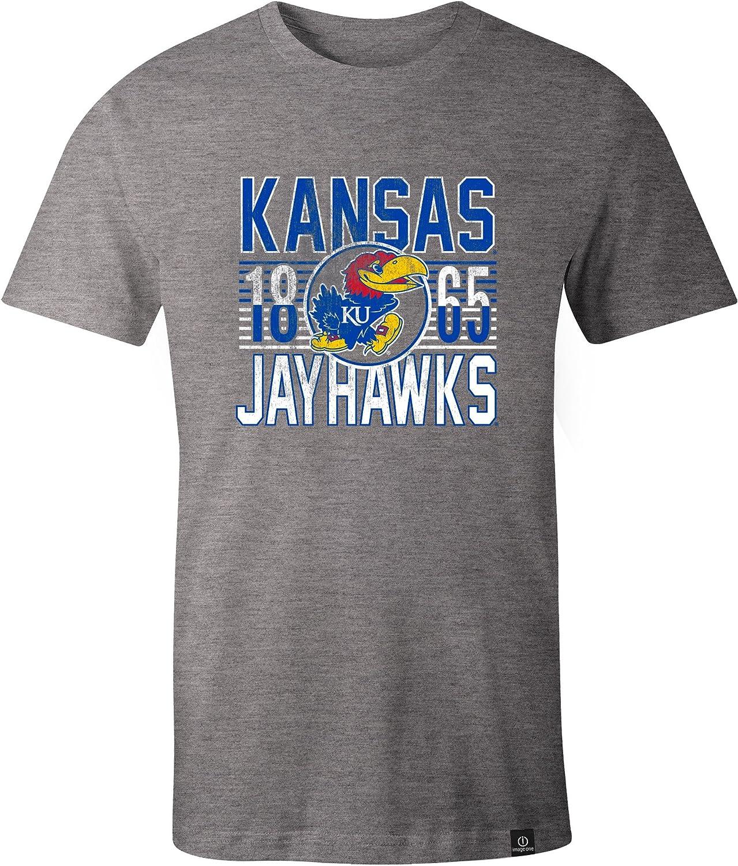 Medium,HeatherGrey NCAA Kansas Jayhawks Adult NCAA Retro Stacked Image One Everyday Short sleeve T-Shirt