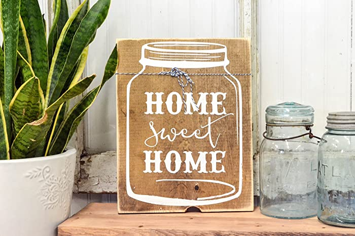 Amazon Home Sweet Home Mason Jar Rustic Wood Sign Farmhouse Extraordinary Home Sweet Home Decorative Accessories