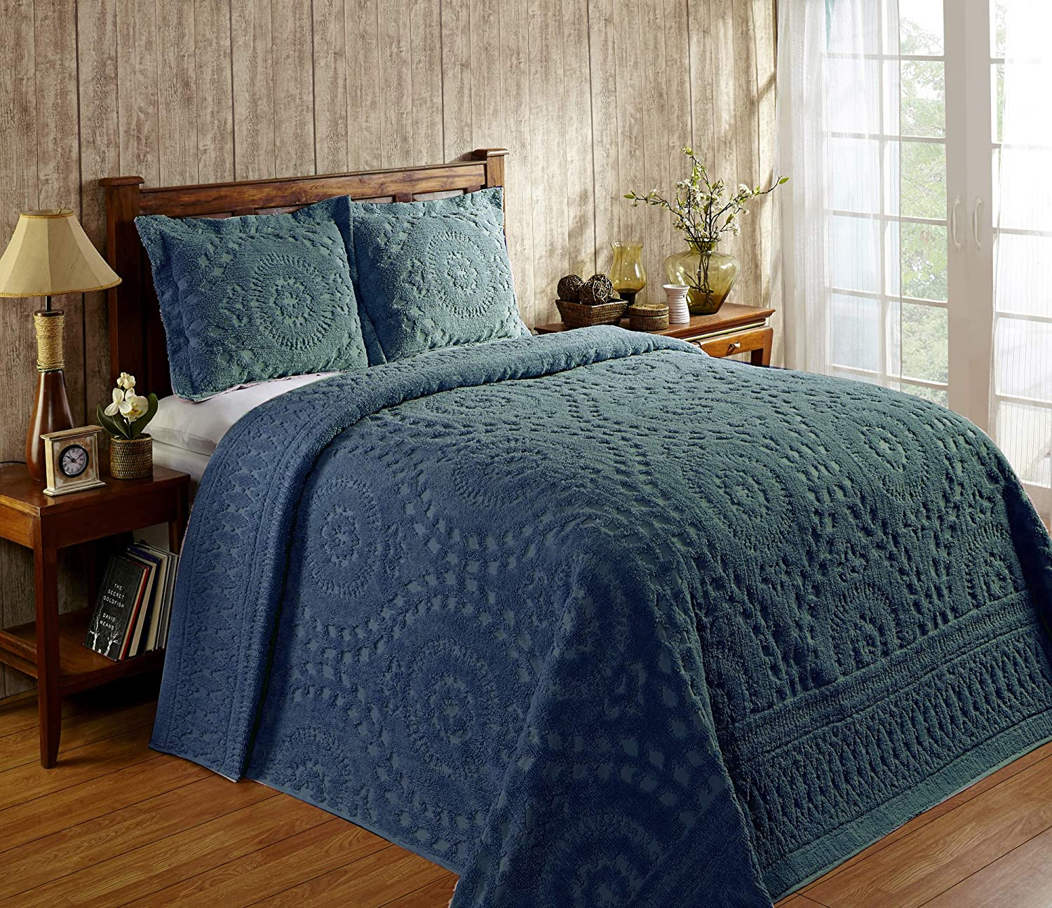 Twin Bedspread Better Trends Rio Collection in Floral Design 100/% Cotton Tufted Chenille Teal