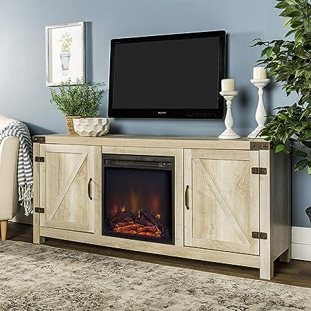 WE Furniture AZ58FPBDWO Fireplace Stand, White Oak