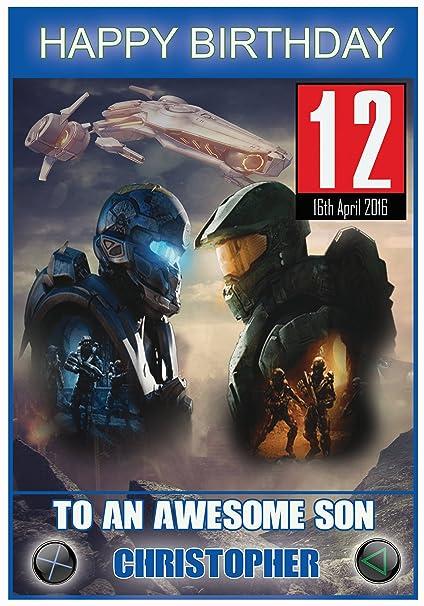 Personalizado de Halo juego inspirado en tarjeta de ...