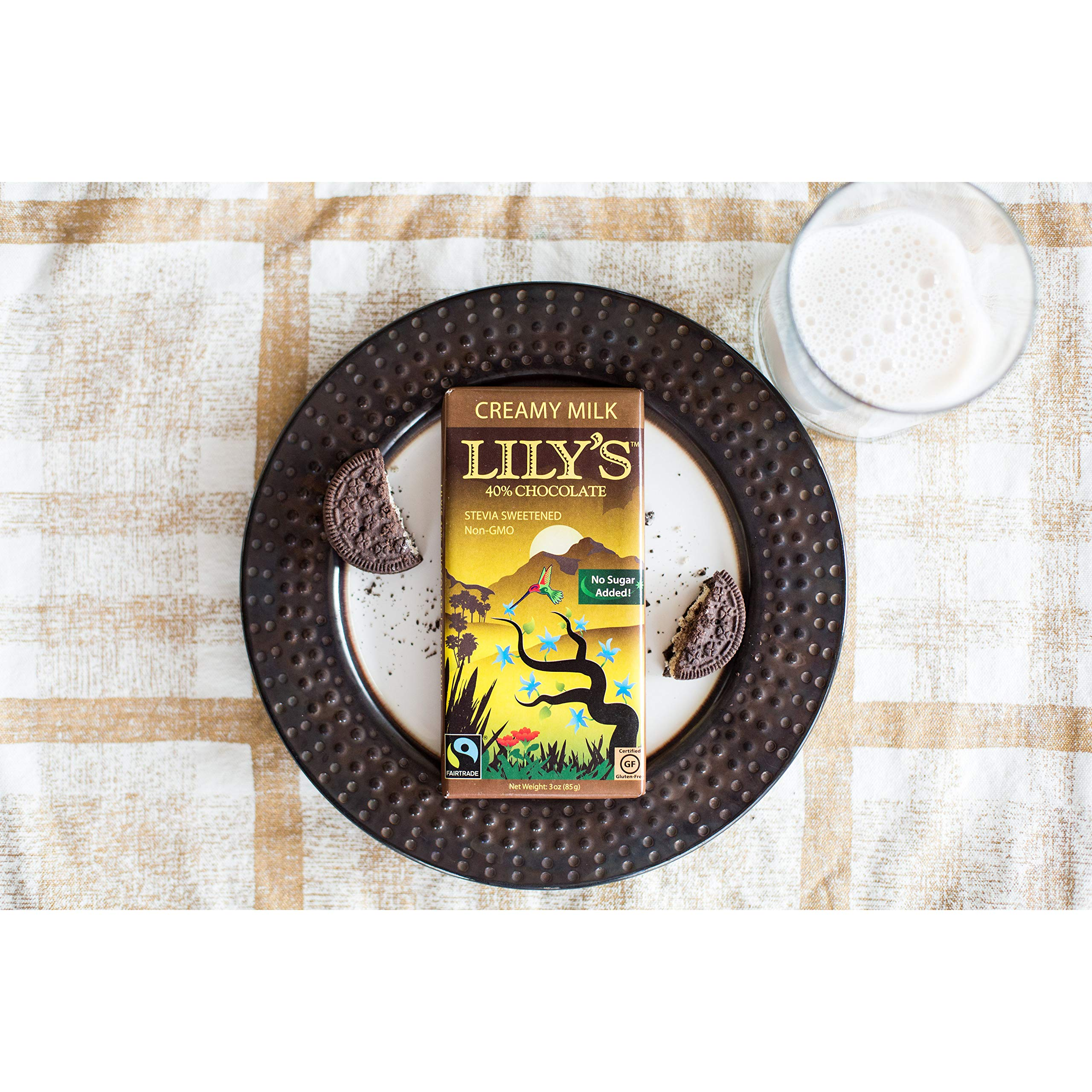 Creamy Milk Chocolate Bar by Lily's Sweets   Stevia Sweetened, No Added Sugar, Low-Carb, Keto Friendly   40% Cacao   Fair Trade, Gluten-Free & Non-GMO   3 ounce, 4-Pack by Lily's (Image #4)