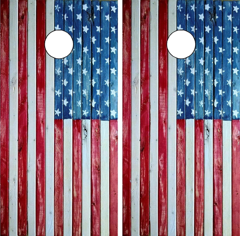 c198 Distressed American Flag Cornhole WrapラップラミネートボードボードデカールセットデカールビニールステッカーステッカーBeanバッグゲームビニールグラフィックTintイメージ