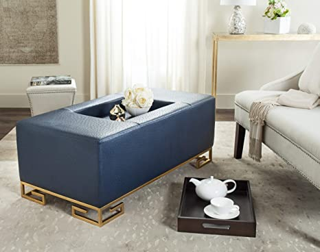 Groovy Safavieh Home Collection Julian Faux Ostrich Navy Blue Tray Ottoman Gmtry Best Dining Table And Chair Ideas Images Gmtryco