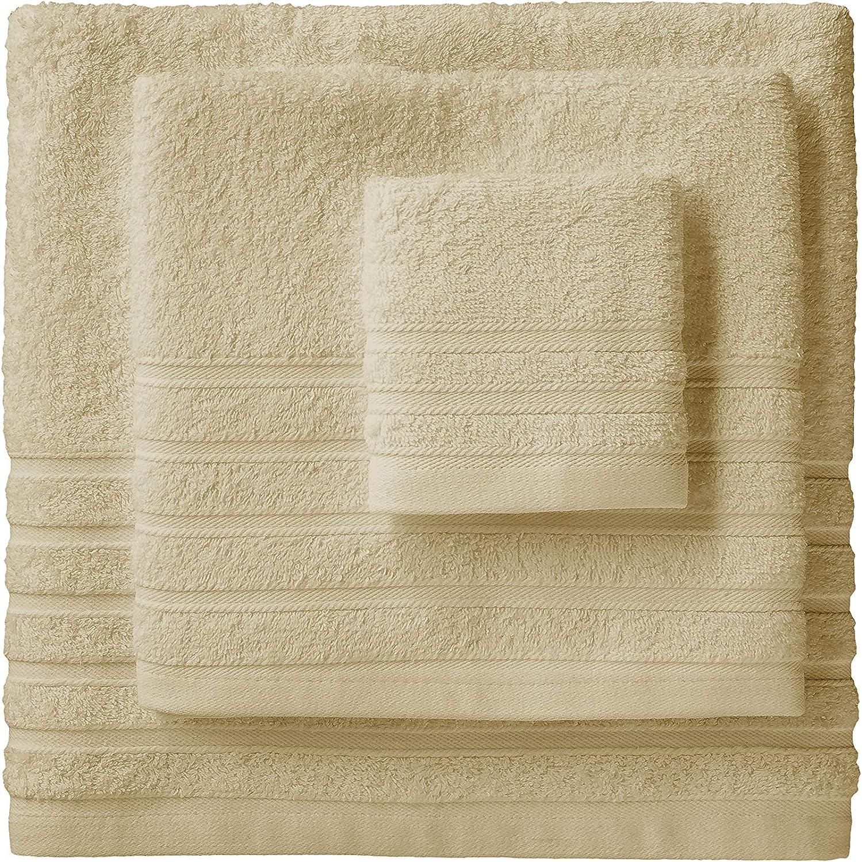 camel lavabo y ducha Barcel/ó Hogar 05040010013 Juego de 3 toallas para bid/é rizo americano modelo Diamante