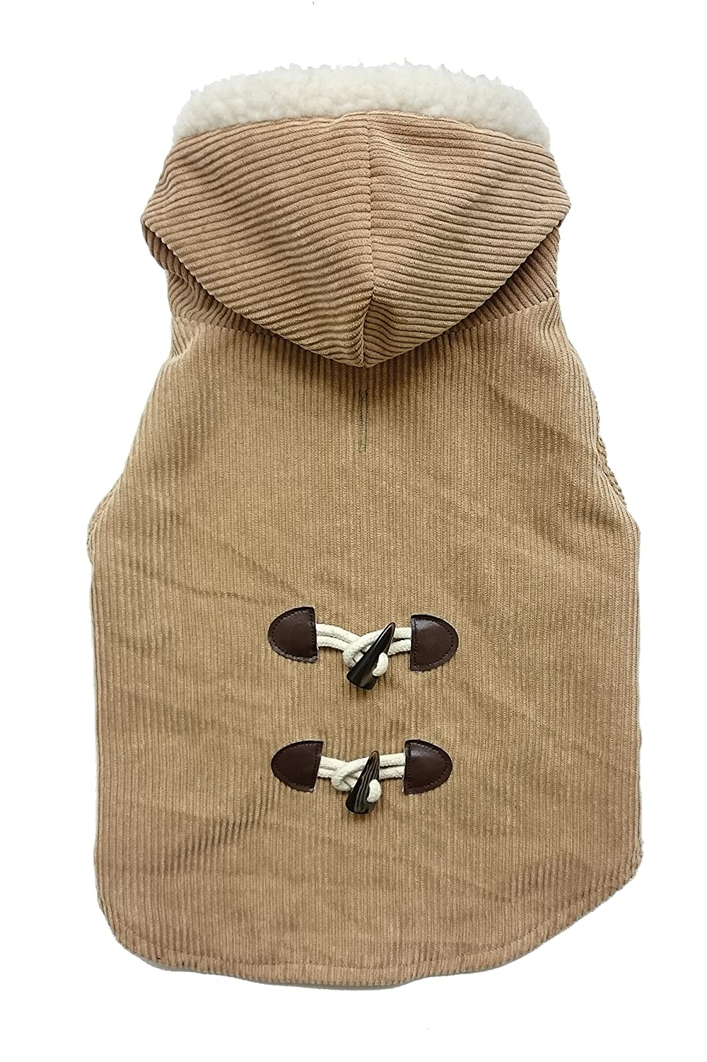 Medium Fashion Pet 752795 Camel Outdoor Dog Corduroy Toggle Coat, Medium
