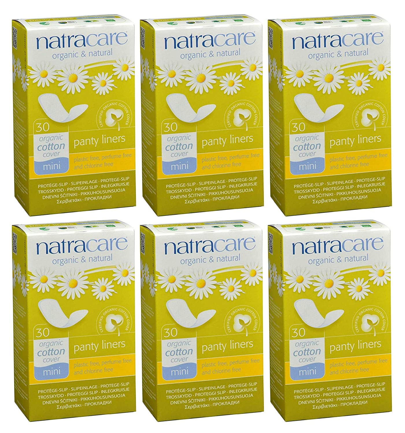 Natracare Panty Liners Mini 30 Count (6 Pack)