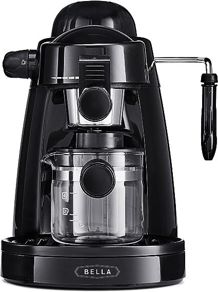 BELLA (13683) Personal Espresso Maker with Built-in Steam Wand, Glass Decanter, Permanent Filter & 5 Bar Pressure, Black