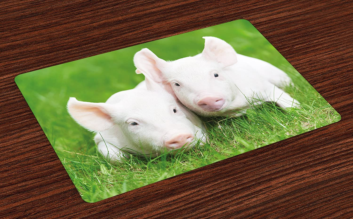 Washable Fabric Placemats for Dining Room Kitchen Table Decoration Pale Pink Green Two Young Baby Piglet on Green Grass Pig Farm Animal Barn Husbandry Agriculture Lunarable Cute Place Mats Set of 4