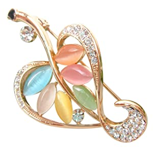 Navachi 18k Gold Plated Colorful Opal Crystal Leaves Az7049b Brooch pin