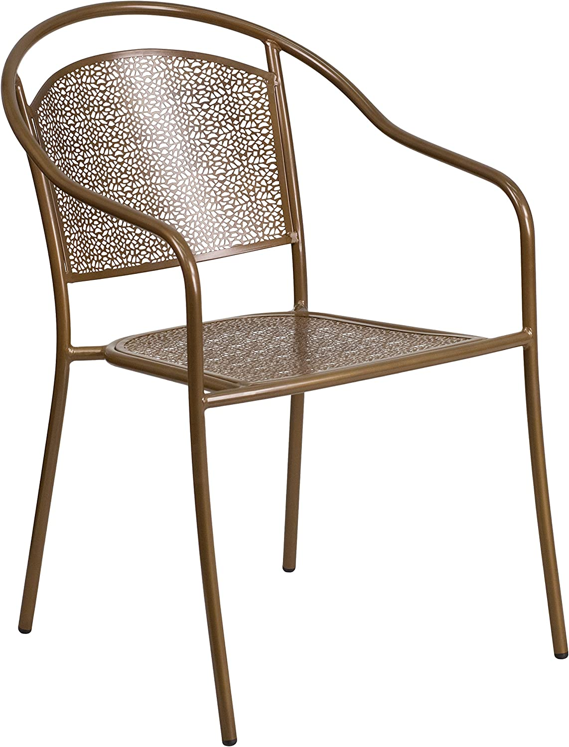 Flash Furniture Commercial Grade Gold Indoor-Outdoor Steel Patio Arm Chair with Round Back