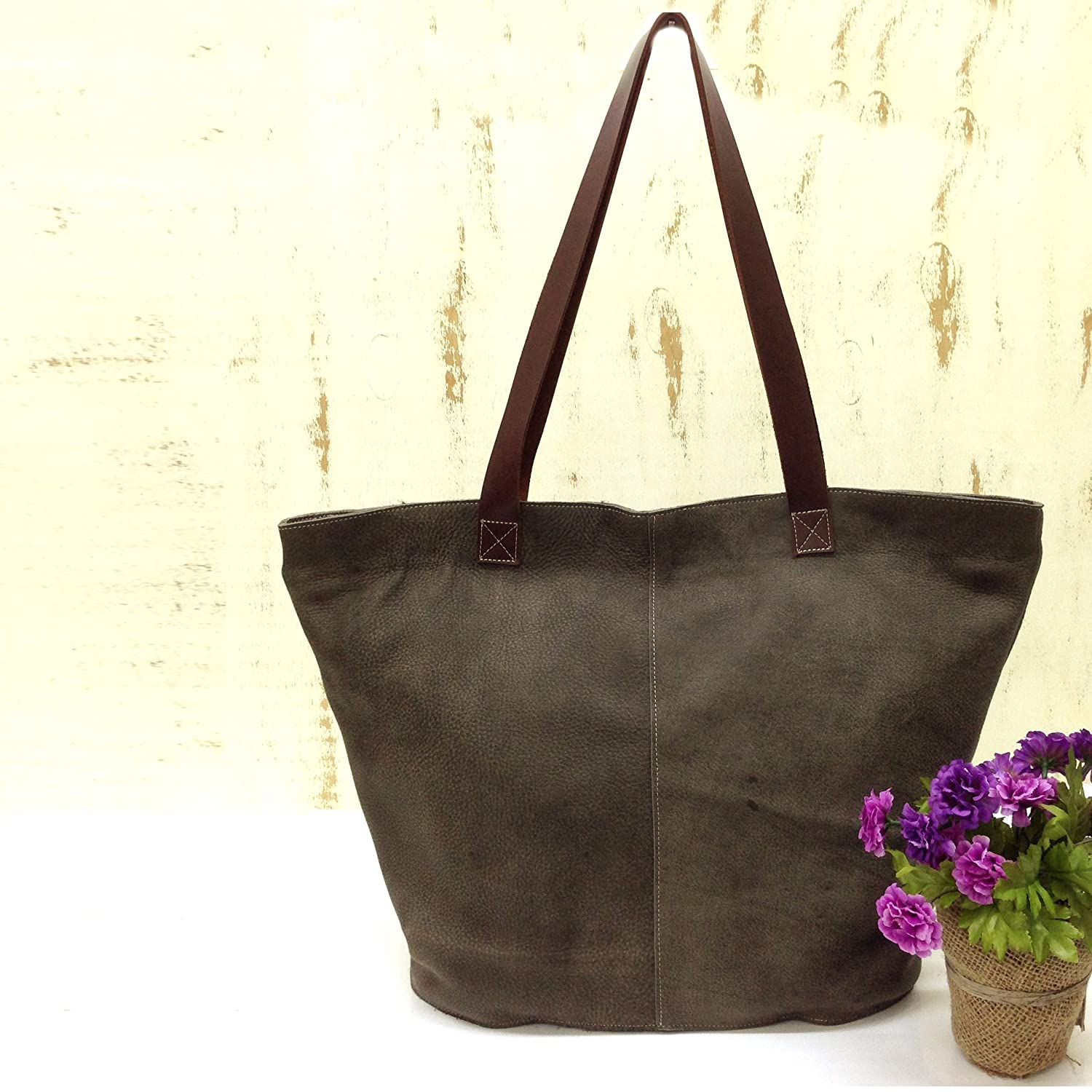 05f24958d1f Amazon.com: Extra large leather tote bag Oversized Distressed grey ...