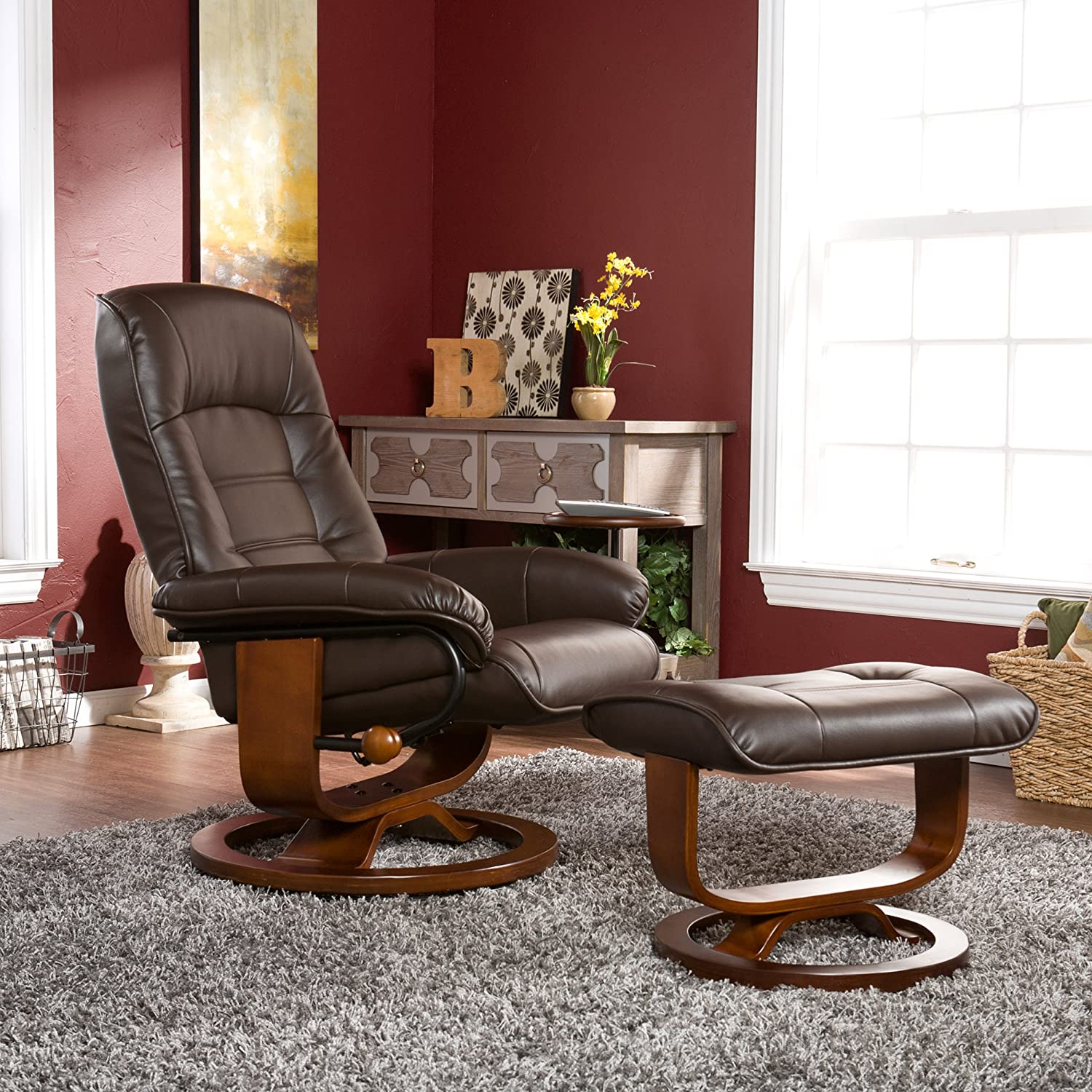 Amazon Bonded Leather Recliner and Ottoman Coffee Brown