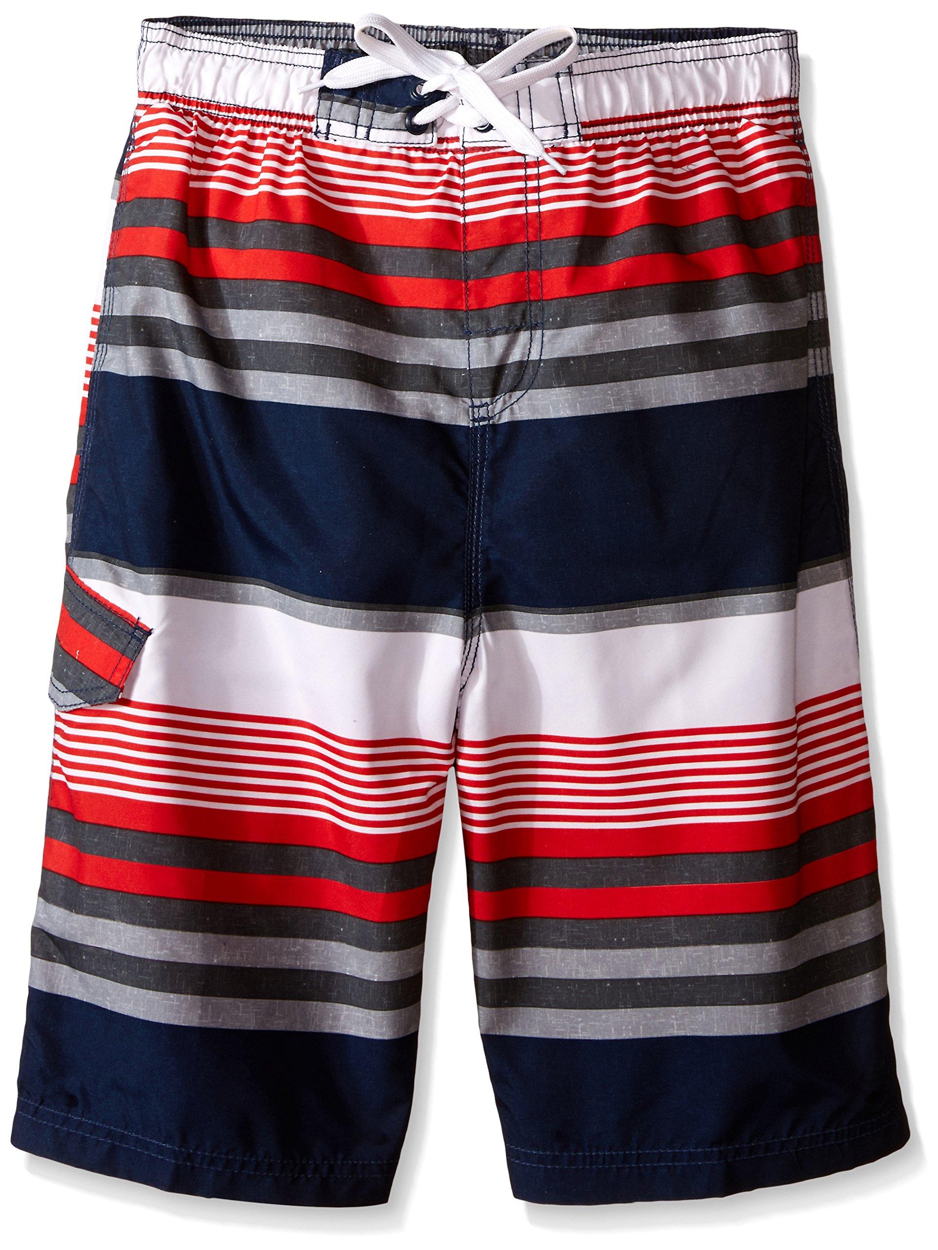 Kanu Surf Big Boys' Optic Stripe Swim Trunk, Navy/Red, Large (14/16)