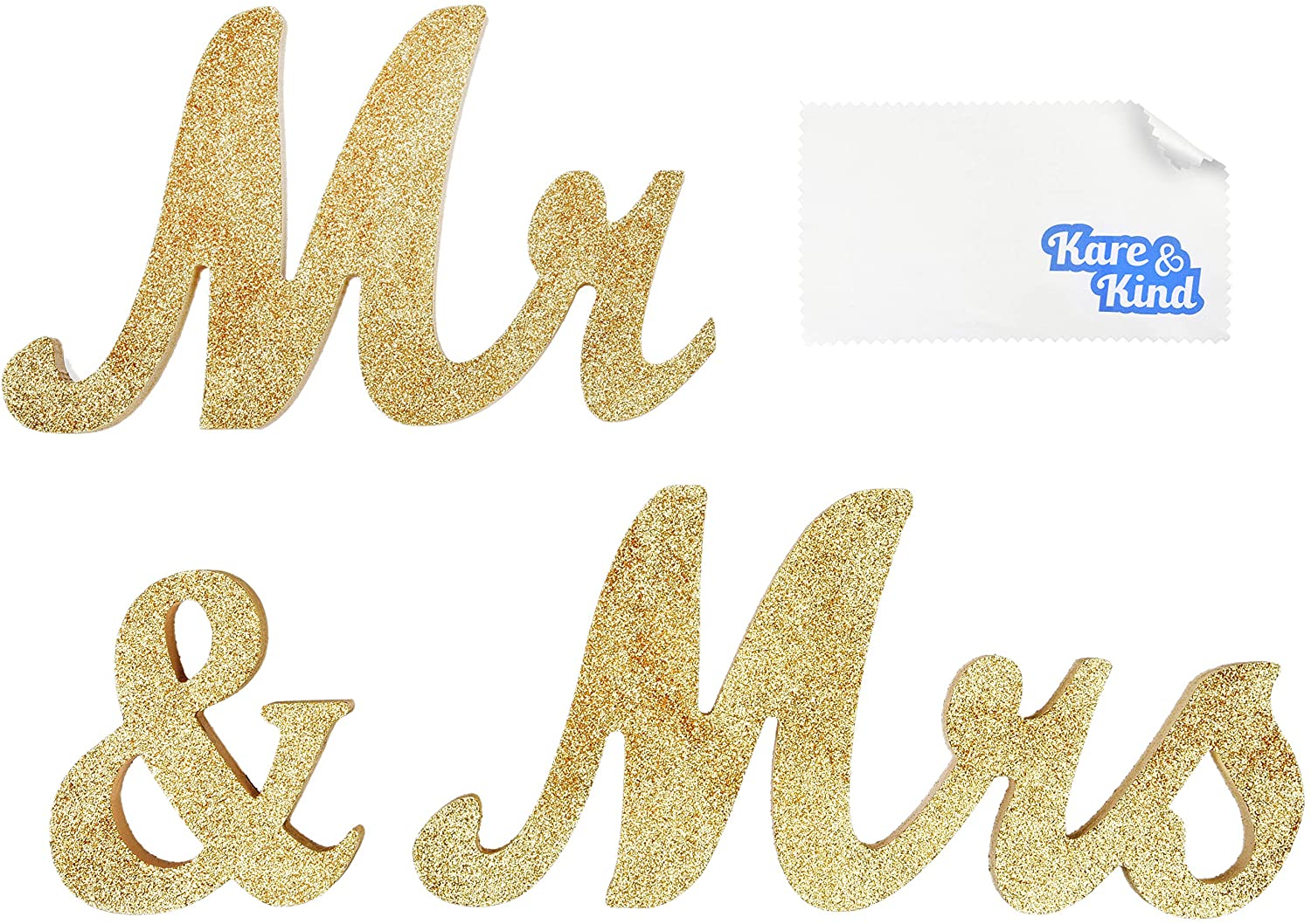 Kare & Kind Mr & Mrs. Sign (Glittery Gold) - Venue Decor - for Weddings, Anniversaries, Bridal Showers and More - Sweetheart Wedding Table Decoration - DIY Projects, Gift, Display