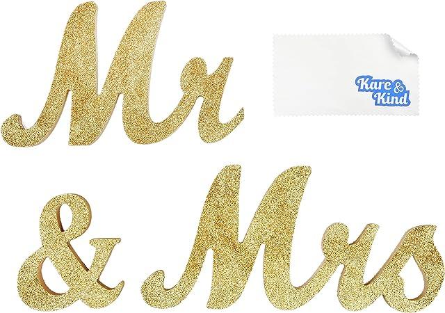 Anniversari Matrimonio Simboli.Kare Kind Simbolo Mr Mrs Oro Glitter Decorazione Per