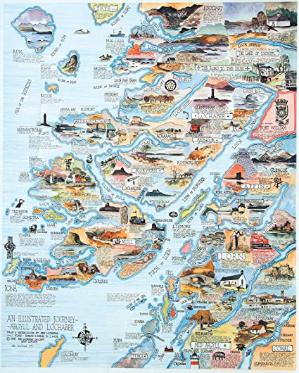Lochaber Scotland Map.Pictorial Map Of Argyll And Lochaber By Ken Lochhead Amazon Co Uk