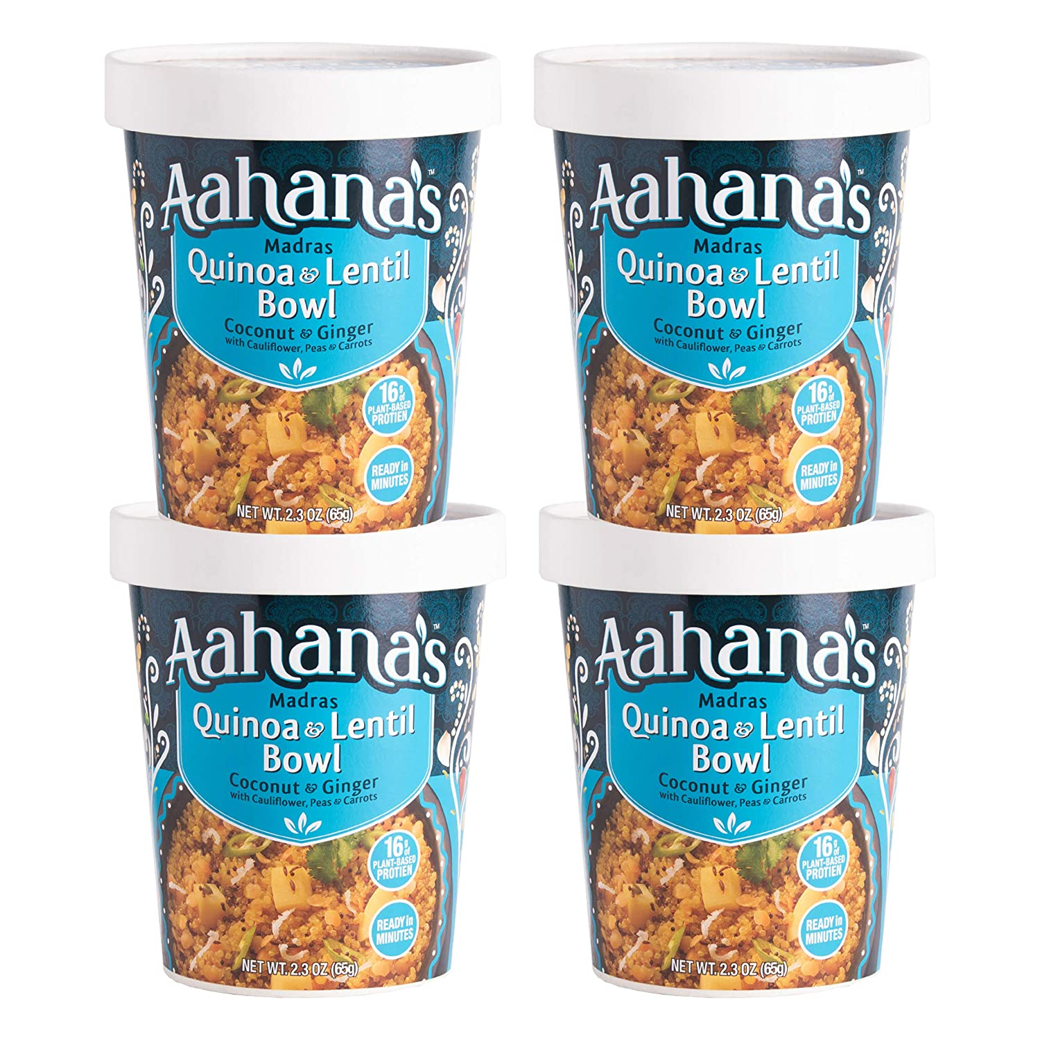 Aahana's Madras Quinoa and Lentil- Gluten Free, Vegan Food with 15g Plant-Based Protein - Ready-to-Eat, Healthy Meals, Just add water - No Refrigeration Required - (2.3 oz, Pack of 4)