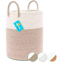 OrganiHaus XXL Cotton Rope Woven Tall Laundry Basket | Laundry Hamper Basket for Blankets | Cotton Blanket Basket…