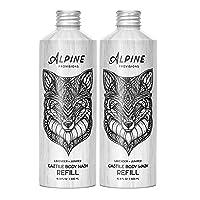 Alpine Provisions Organic Biodegradable Castile Body Wash Refill, Lavender + Juniper, 16.9 fl oz Plastic-Free Aluminum Bottle, Pack of 2