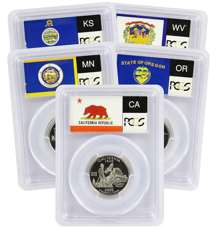 Flag 2000-S Clad State Quarter Set PR69DCAM PCGS Proof 69 Deep Cameo 5 Coins