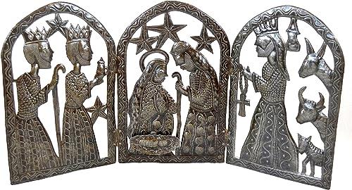Haitian Nativity Scene, Angel, Haiti Metal Art, Angel Wings, Holiday Decor, Recycled 55 Gallon Oil Barrel 34 x 15 Inches Large Nativity Scene