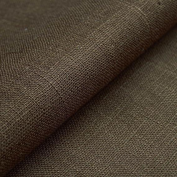 Auténtico Lino Ecológico BASIC - Tela de lino natural y pura - Por metro (Marrón turba): Amazon.es: Hogar