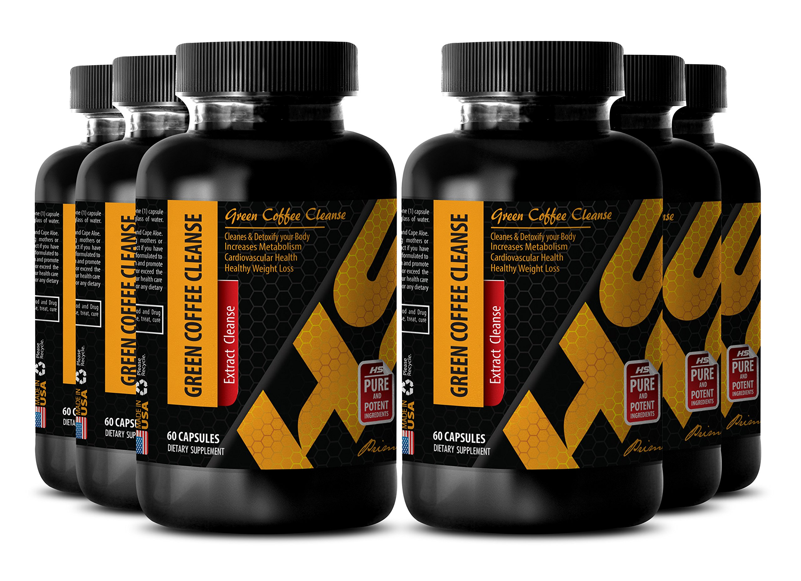 Fat burner pills - GREEN COFFEE CLEANSE - Goldenseal supplements - 6 Bottle 360 Capsules