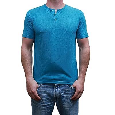 Henley Mens Short Sleeve TShirt with 3 Buttons, Teal Heather, Medium | .com