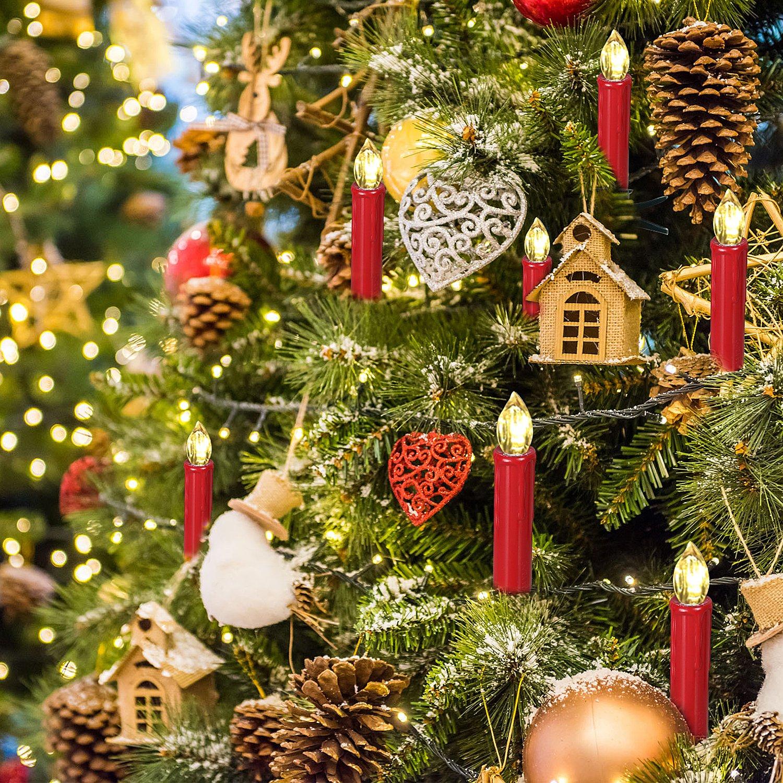 SunJas 30er Rot Weinachten Kerzen Weihnachtsbeleuchtung Weihnachtskerzen mit Fernbedienung kabellos Weihnachtsbaumkerzen 10//20//30//40er