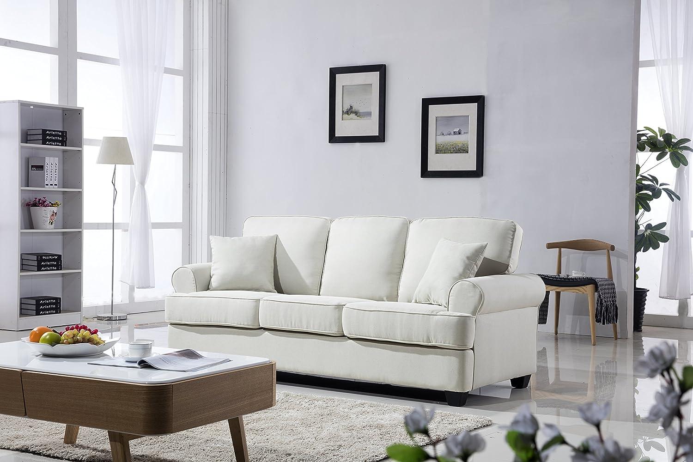 Classic Plush Fabric Sofa - Living Room Furniture (Beige)