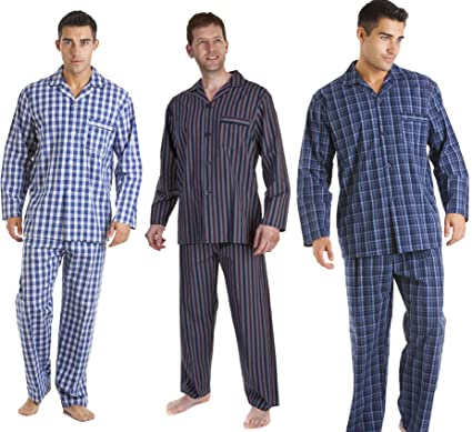 c5e525cc06ecad Haigman 3 Pack Mens Printed Cotton Pyjama Nightwear Lounge wear  BluNayStripe LRG