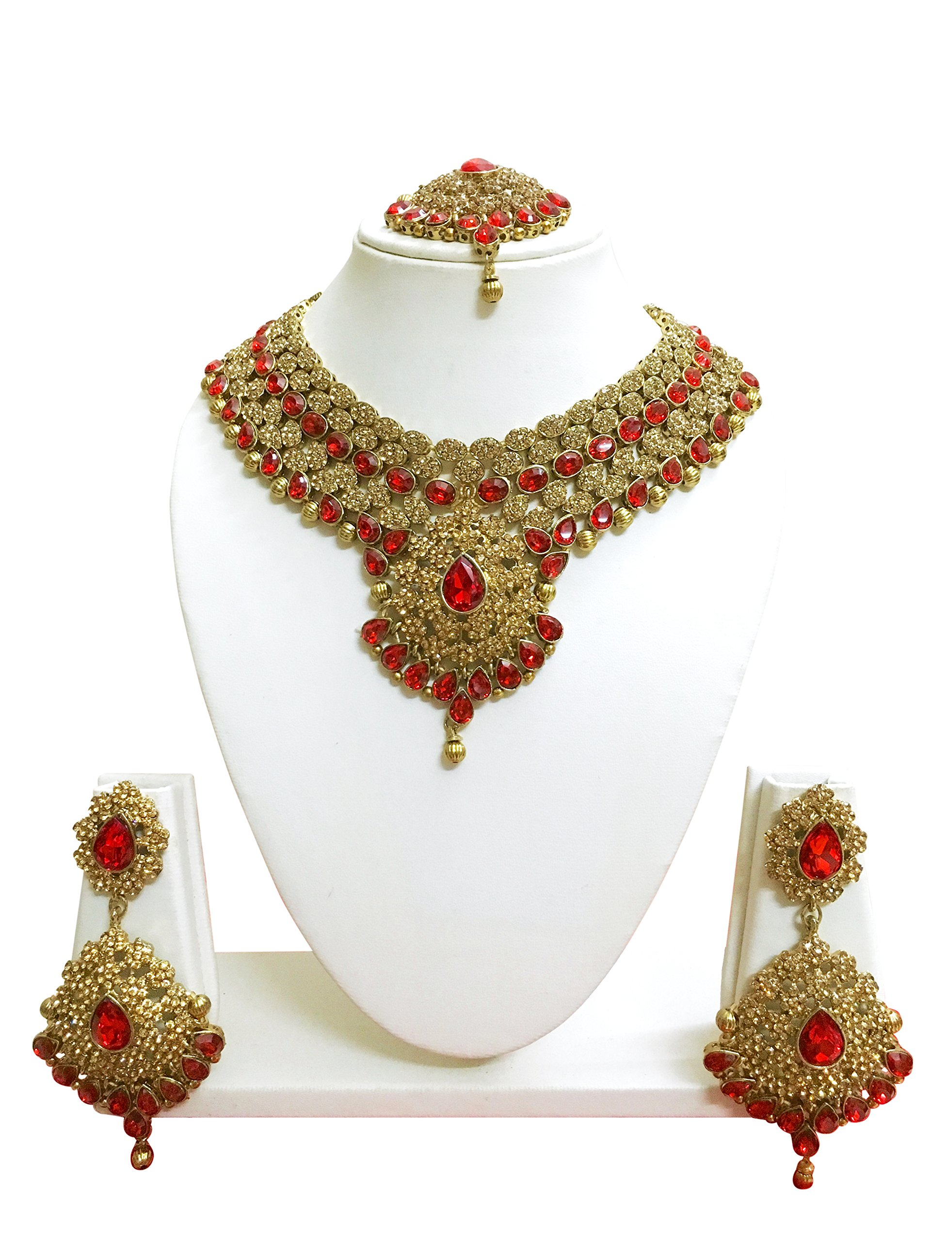 CROWN JEWEL Indian Bollywood Style Designer Gold Plated Bridal Fashion Jewelry Necklace Earring Set For Women (Red)