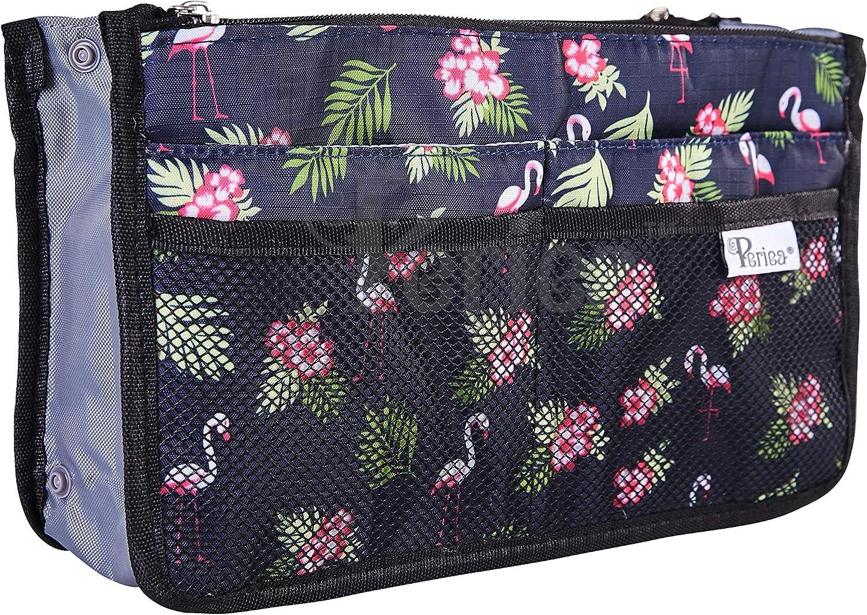 Periea® Handbag Organiser - Chelsy - 28 Colours Available - Small, Medium & Large (Blue with Flamingos, Small)