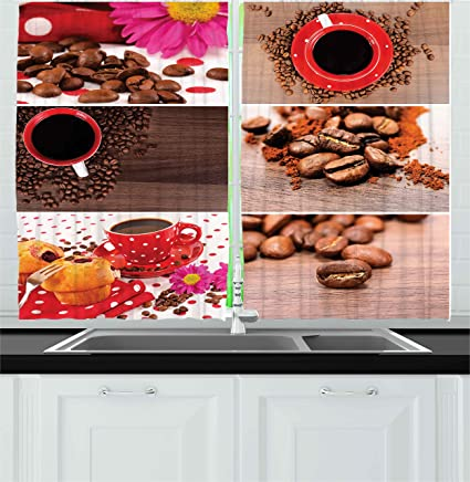 Amazon.com: Ambesonne Coffee Kitchen Curtains, Coffee Themed ...