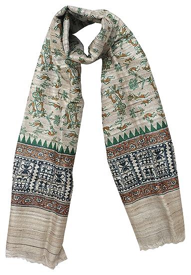 Tarini Wcs Ikat Handloom Tussar Stole (Multi-Coloured, Tarini 28)