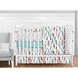 Sweet Jojo Designs 9-Piece Feather Baby Girls Crib Bedding Set with Bumper