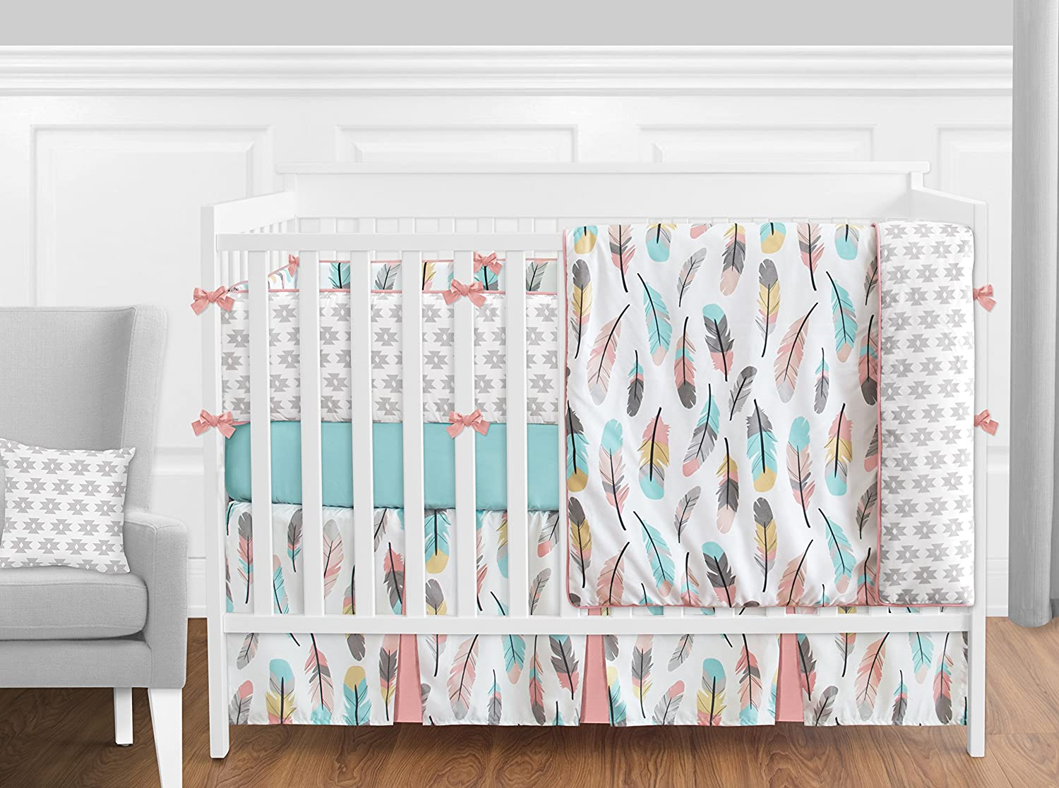 Sweet Jojo Designs 2-Piece Feather Collection Teething Protector Cover Wrap Baby Crib Side Rail Guards