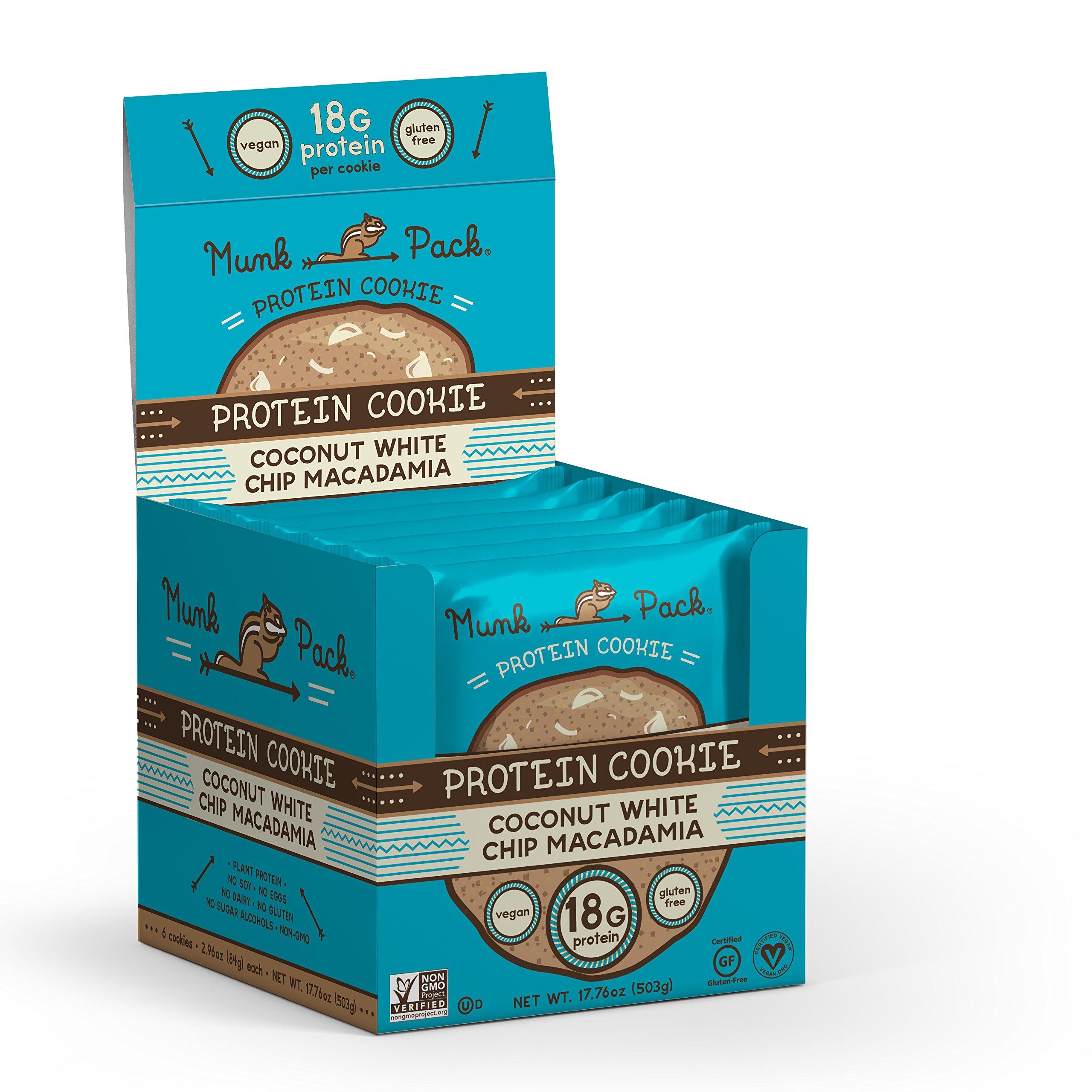 Munk Pack - Coconut White Chip Macadamia - Protein Cookie - 6 Pack - 18g Protein, Vegan, Gluten-Free, Soft Baked - 2.96oz