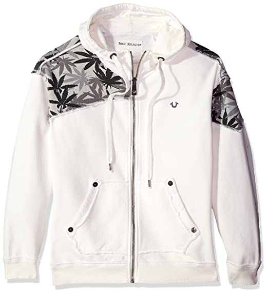 43c801fbc8 True Religion Men s Marijuana Leaf Print Zip Hoodie Hooded Sweatshirt   Amazon.co.uk  Clothing