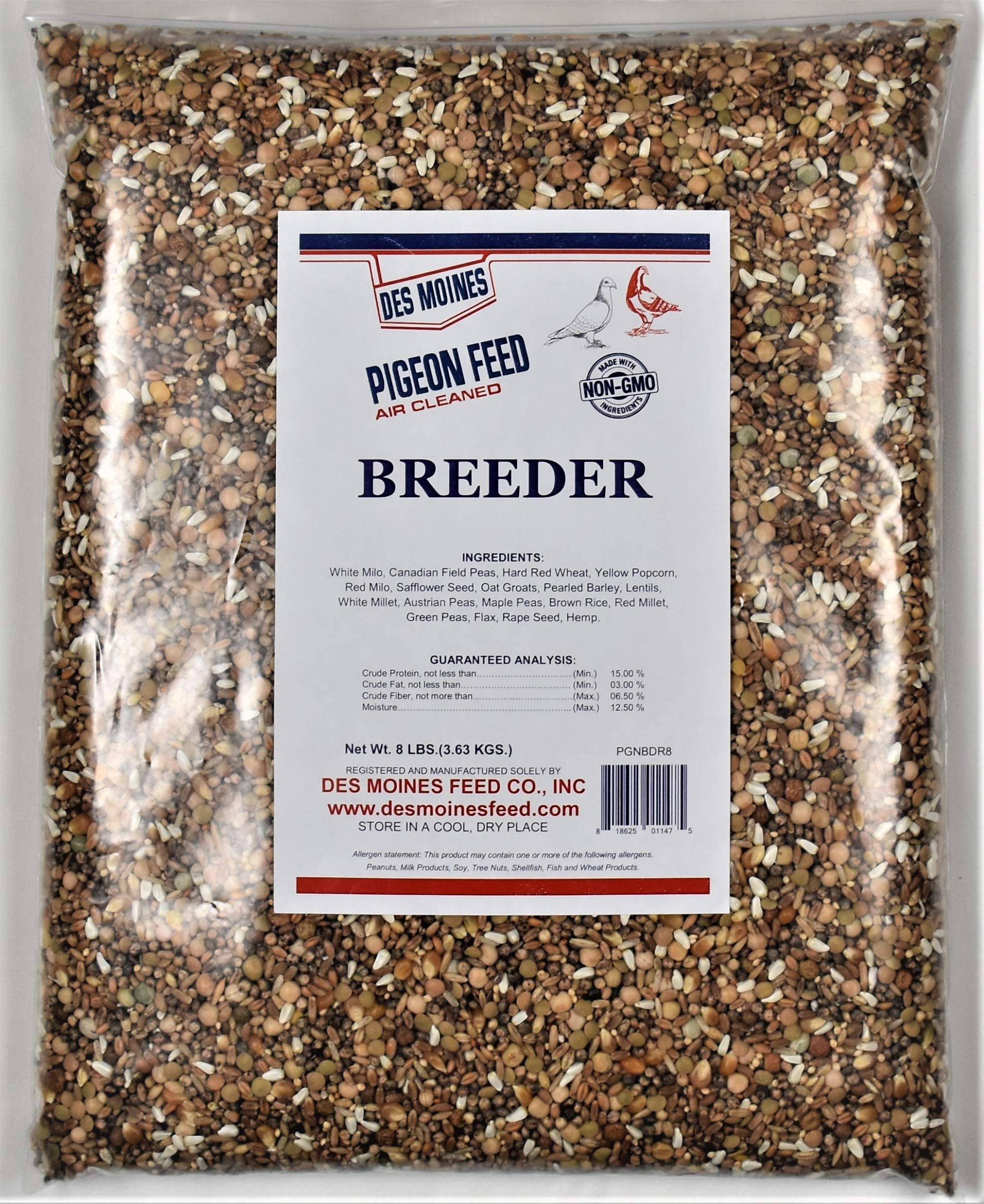 Breeder Pigeon Mix (15%) 8 lbs by Des Moines Pigeon Feed