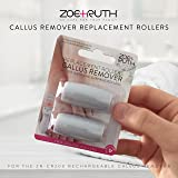 Zoe+Ruth Electronic Pedicure Callus Remover Premium Quality Coarse Replacement Rollers, Professional Grade Foot File Refills, Water Proof Roller Heads (2 Pack)