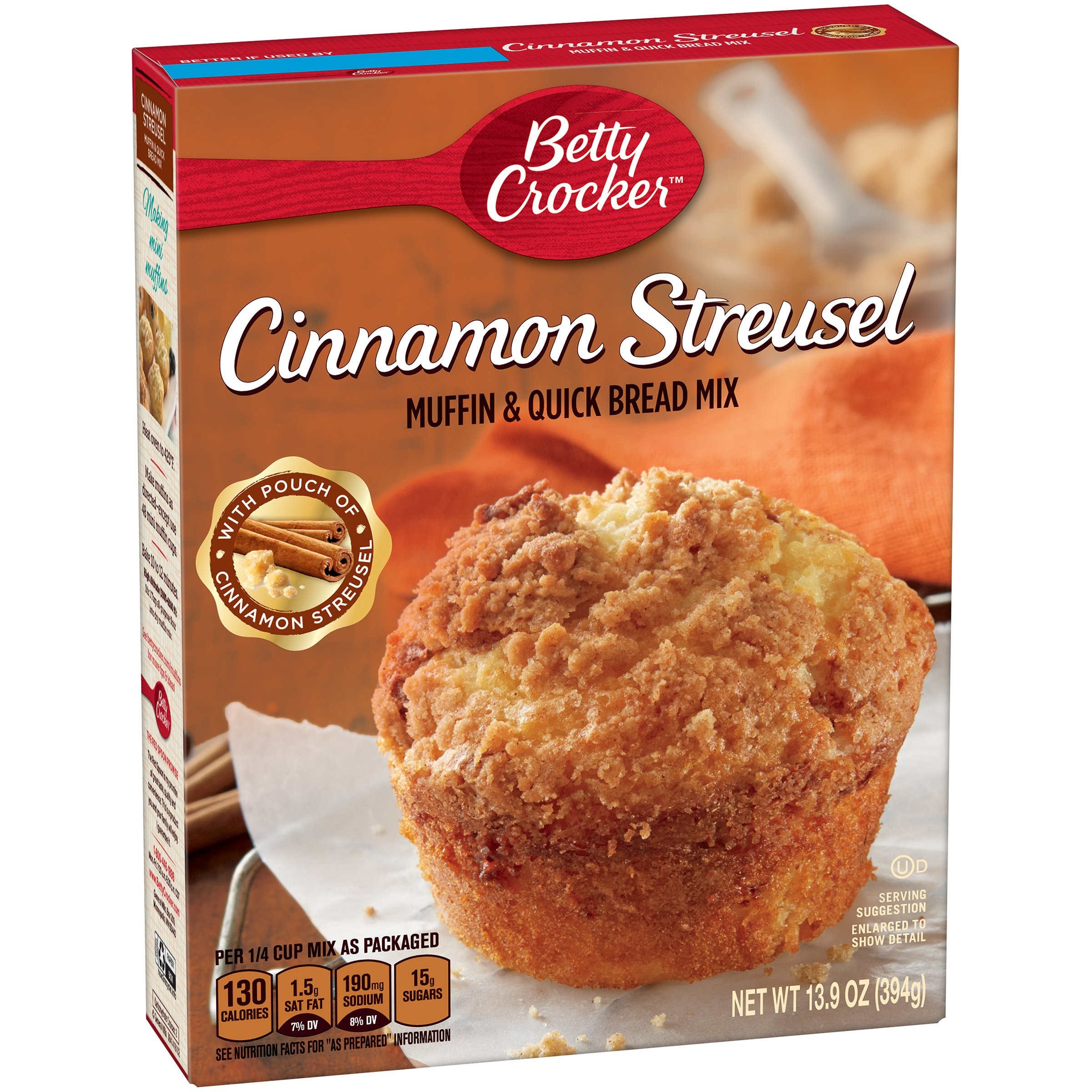 Betty Crocker Baking Mix, Muffin & Quick Bread Mix, Cinnamon Streusel, 13.9 Oz Box (Pack of 12) by Betty Crocker