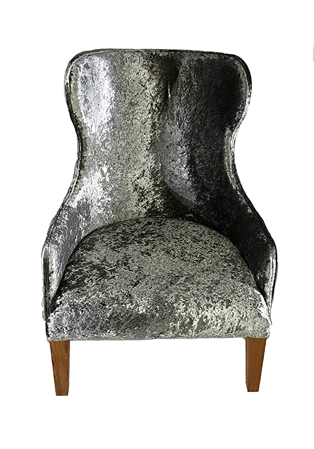 Sillón de terciopelo arrugado de acero fresco (plata ...