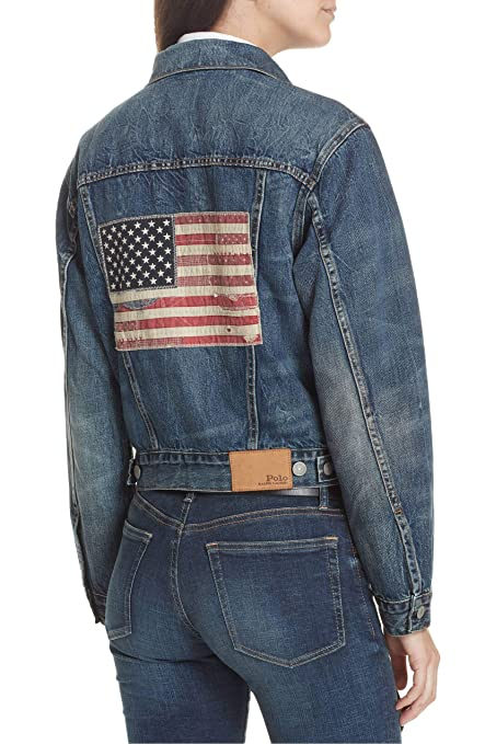 e7e9617d4 Polo Ralph Lauren USA Flag Trucker Denim Jacket, Size Small - Blue ...