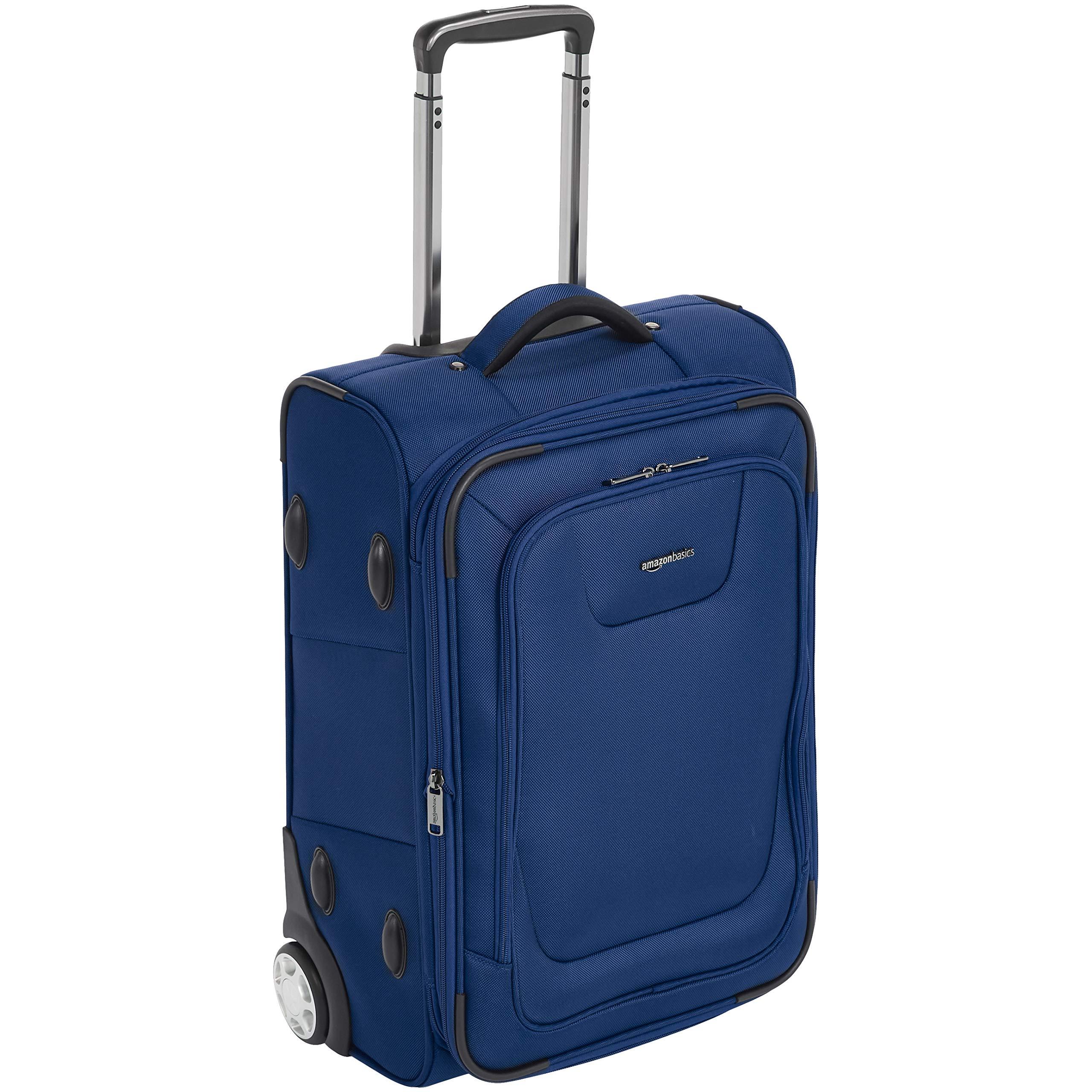 AmazonBasics Premium Upright Expandable Softside Suitcase with TSA Lock - 22 Inch, Blue